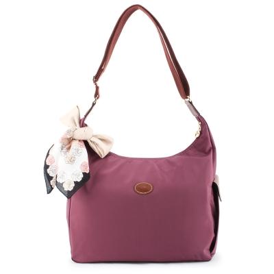 Longchamp 豔彩繽紛大斜背包-野莓色(加贈帕巾)