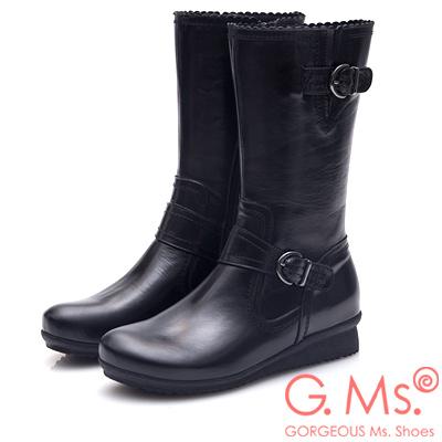 G.Ms. MIT系列-牛皮雙皮帶釦小坡跟中筒靴-黑色