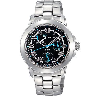 SEIKO 星光魔法全日曆腕錶-黑/藍時標/33mm