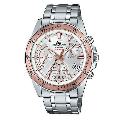 EDIFICE魅力釋放簡約時尚三針三眼指針錶EFV-540D-7B金框X白面43.8mm