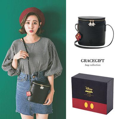 Disney collection by Grace gift米奇壓紋雙拉鍊圓筒側背包