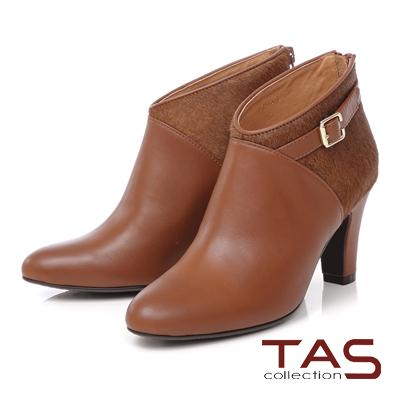 TAS 馬毛拼接皮帶扣高跟踝靴-微醺棕