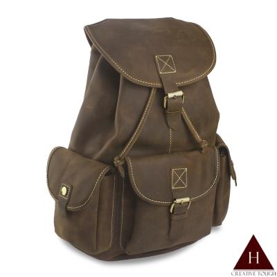 H-CT 深棕色束口袋造型設計真皮後背包(D98638-Z)