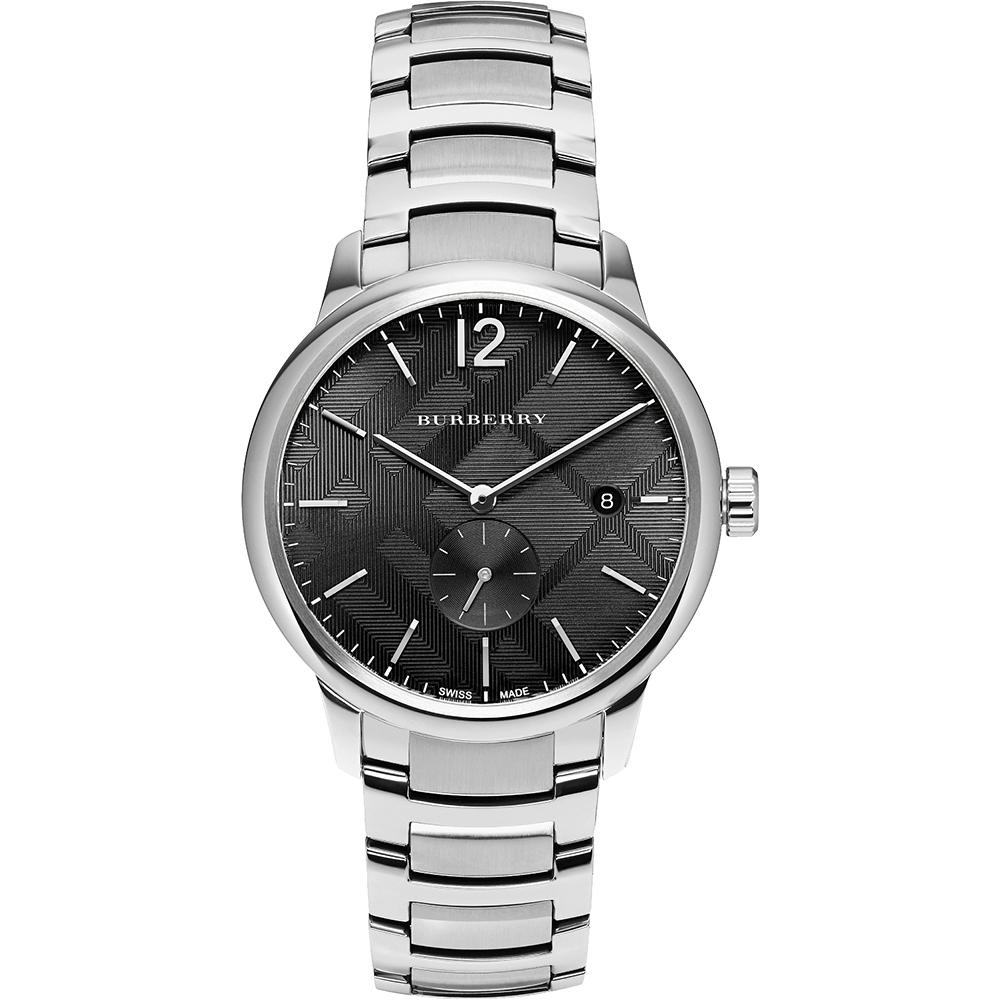 BURBERRY Classic英倫格紋小秒針腕錶-黑x銀40mm
