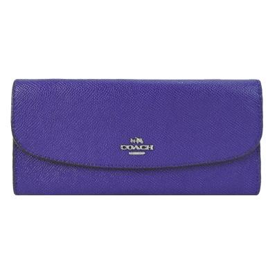 COACH 馬車LOGO簡單防刮薄型長夾(靛紫)