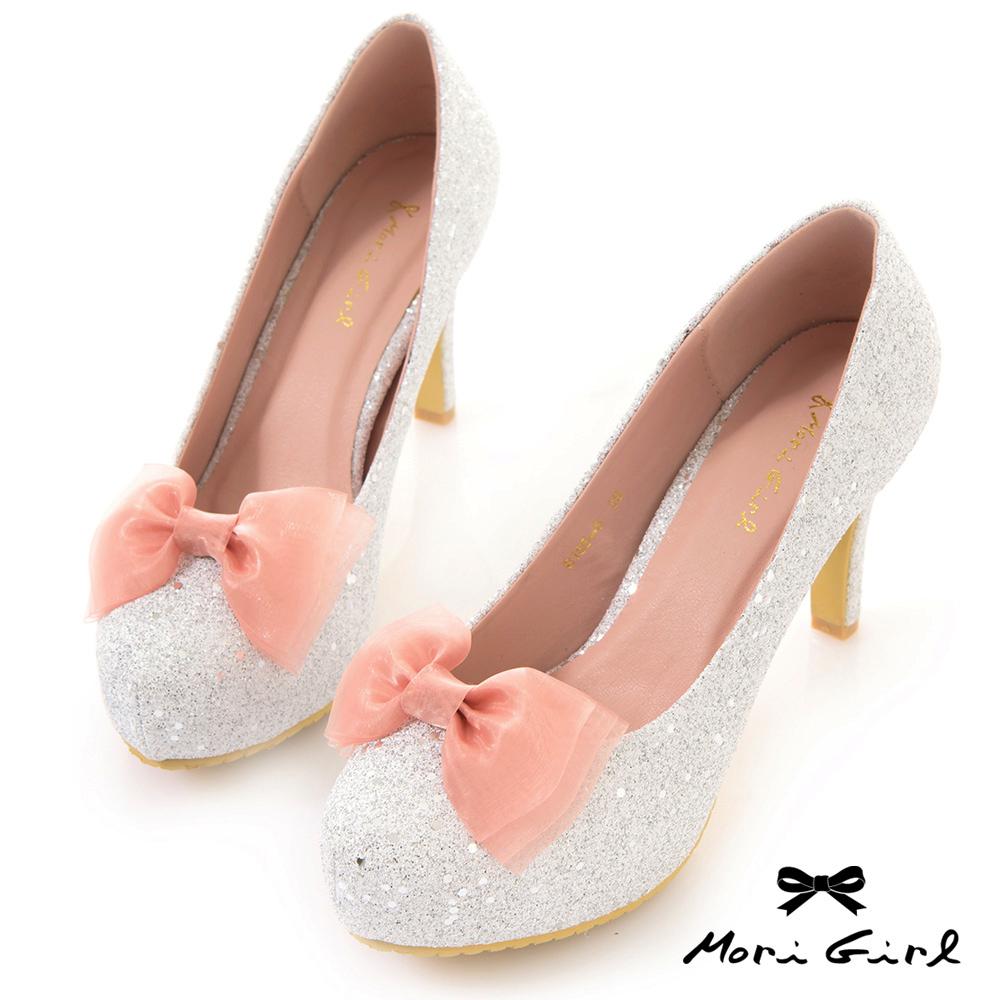 Mori girl 2WAY可拆蝴蝶結精緻亮片金蔥高跟鞋 銀