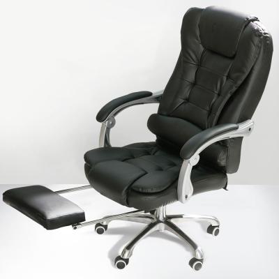 IDEA-凱薩黑皮鋁合金高背加寬主管椅-附腳托.PU靜音輪
