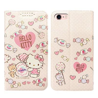 三麗鷗授權Hello Kitty貓 iPhone 8/7 粉嫩系列彩繪磁力皮套(軟糖)