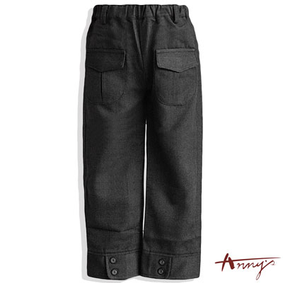 Anny條紋保暖雙口袋鈕扣造型長褲*3486灰