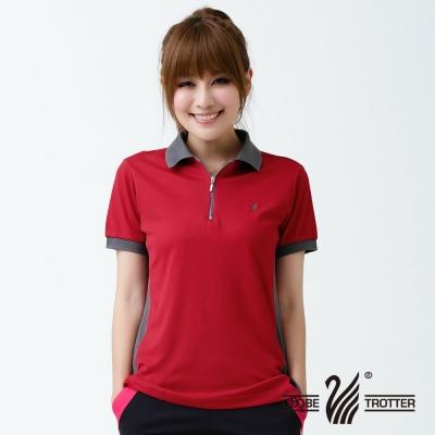 【遊遍天下】MIT台灣製女款吸濕排汗抗UV機能POLO衫SV050紅色