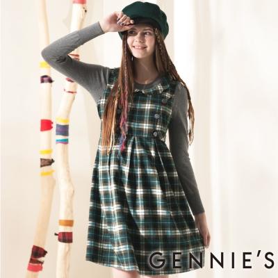 Gennies奇妮-Gennies系列-學院風知性格紋秋冬背心洋裝-G2407-綠