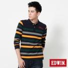 EDWIN 提織條紋長袖POLO衫-男-丈青