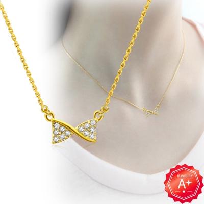 A+黃金 精緻滿鑽扭邊蝴蝶結 999千足黃金鎖骨墜