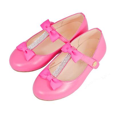Swan天鵝童鞋-蝴蝶結排鑽T字娃娃鞋-3760 桃