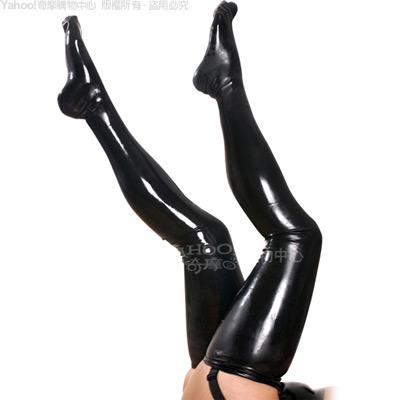 香港CICILY-長腿戰士-塗膠仿皮 高彈性長襪-黑