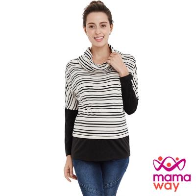 孕婦裝 哺乳衣 垂領橫紋假兩件孕哺上衣(共二色) Mamaway