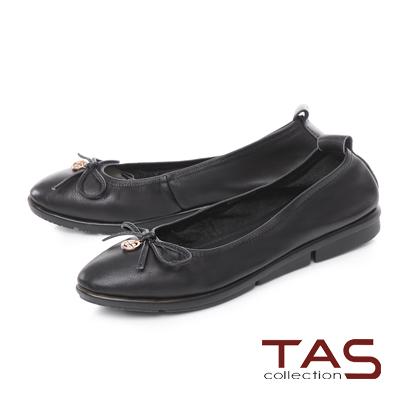 TAS 金屬圓飾蝴蝶結牛皮娃娃鞋-百搭黑