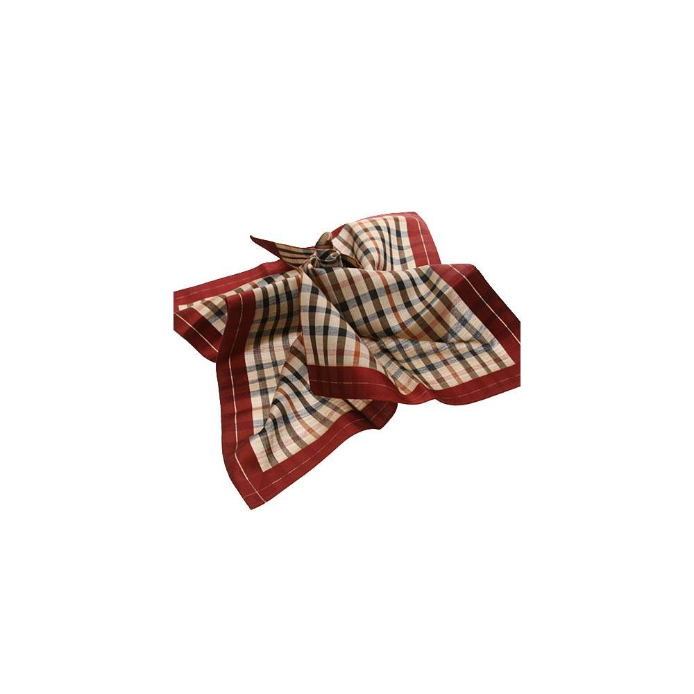 DAKS 經典格紋logo刺繡帕領巾(棗紅邊)