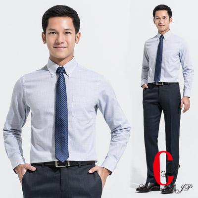 極品西服 都會紳士細格紋棉料襯衫_淡藍(SW505-53)