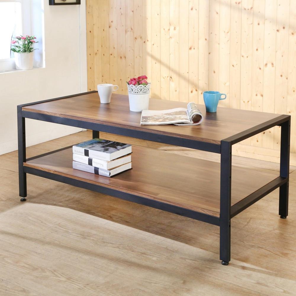 BuyJM工業風黑框雙層大茶几桌寬128x60x55公分-DIY