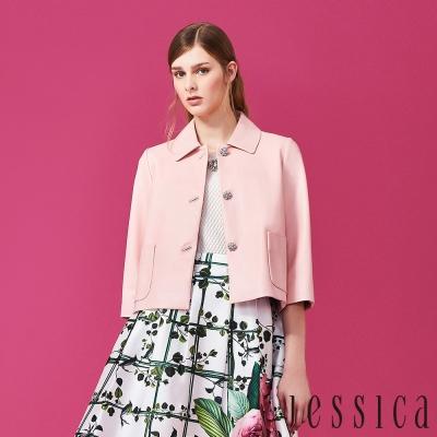【JESSICA】氣質優雅羊皮七分袖外套(粉)