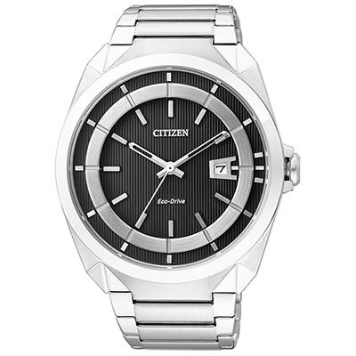 CITIZEN 光動能立體雙色錶面紳士手錶(AW1010-57E)-黑/42mm