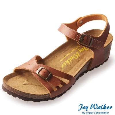 Joy Walker 繽紛色彩一片式楔型涼鞋*駝色