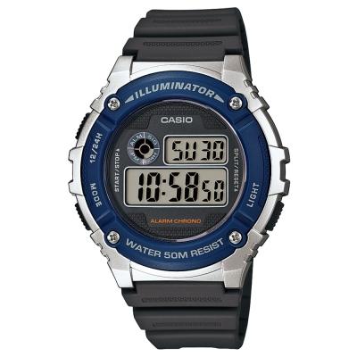 CASIO 元氣數位美學實用必備休閒錶(W-216H-2A)-黑灰x藍框/43mm