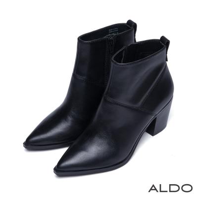 ALDO-俐落原色真皮雙色夾心底尖頭低跟鞋-尊爵黑
