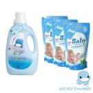 【KU.KU酷咕鴨】嬰幼兒洗衣精環優惠組合(補充包1000ml×3入+1200ml*1)