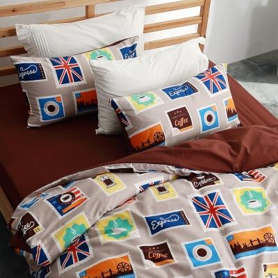 美夢元素 台製天鵝絨-枕套床包三件式-雙人 (咖啡集)