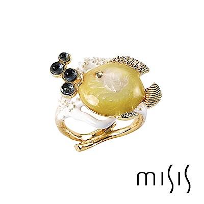 MISIS 天使魚系列 藍寶、鋯石925純銀鍍18K金戒指-黃