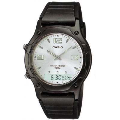 CASIO 超時玩家雙顯指針錶(AW-49HE-7A)-白底螢光字