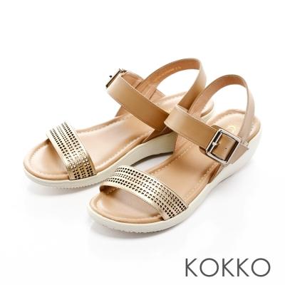 KOKKO-縷空幾合真皮輕量耐走舒壓楔型涼鞋-膚