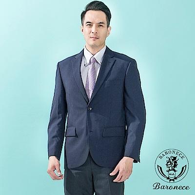 BARONECE 經典紳士暗紋直條羊毛西裝_深藍(517306-11)