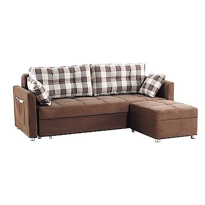 品家居 肯希絲絨布L型沙發床-215x167x87cm-免組