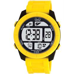 Q&Q 彩色潮流大鏡面多功能電子錶-亮黃/47mm