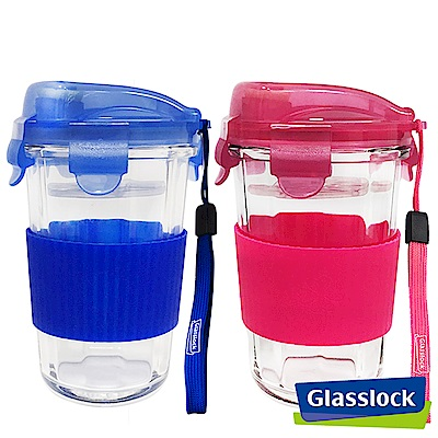 Glasslock強化玻璃環保攜帶型水杯500ml二入組-彩藍+彩粉(矽膠隔熱杯套款)