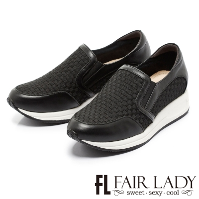 Fair Lady 潮流編織厚底懶人休閒鞋 黑