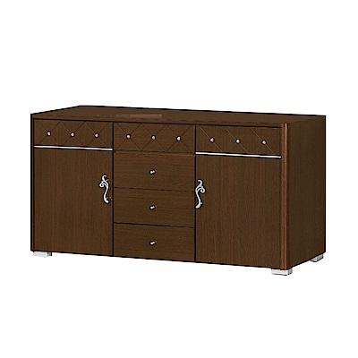 品家居 奧斯多5.1尺胡桃木紋餐櫃下座-152x46x85cm免組