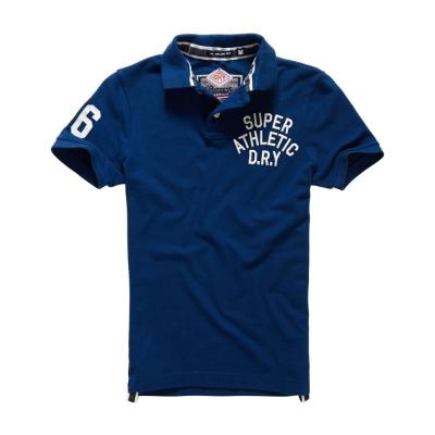 SUPERDRY-極度乾燥-短袖-POLO-深藍色