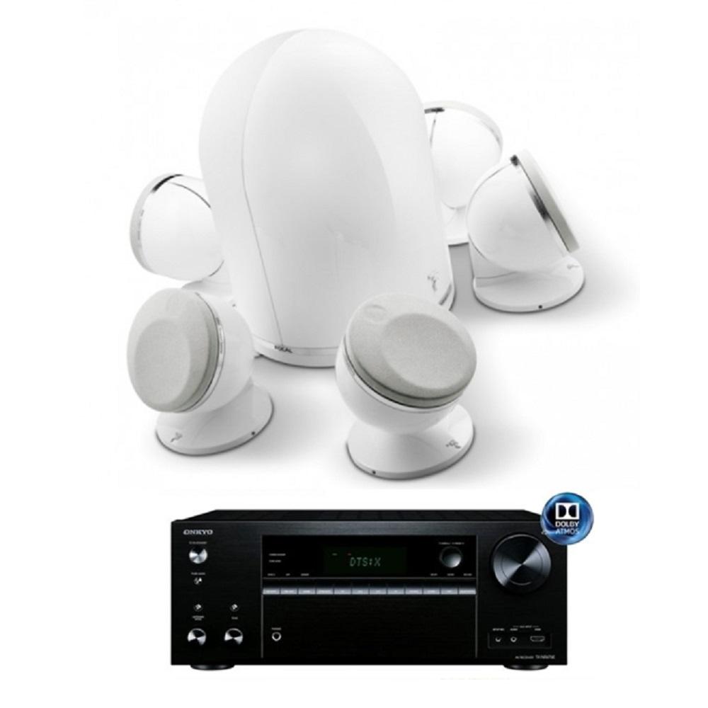 Focal DOME 5.1聲道鏡面喇叭劇院組(DOME+Onkyo NR676E) 白色