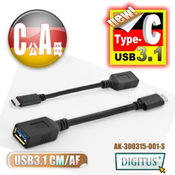 曜兆DIGITUS USB3.1 Type-C 轉A傳輸線(公對母)-15公分