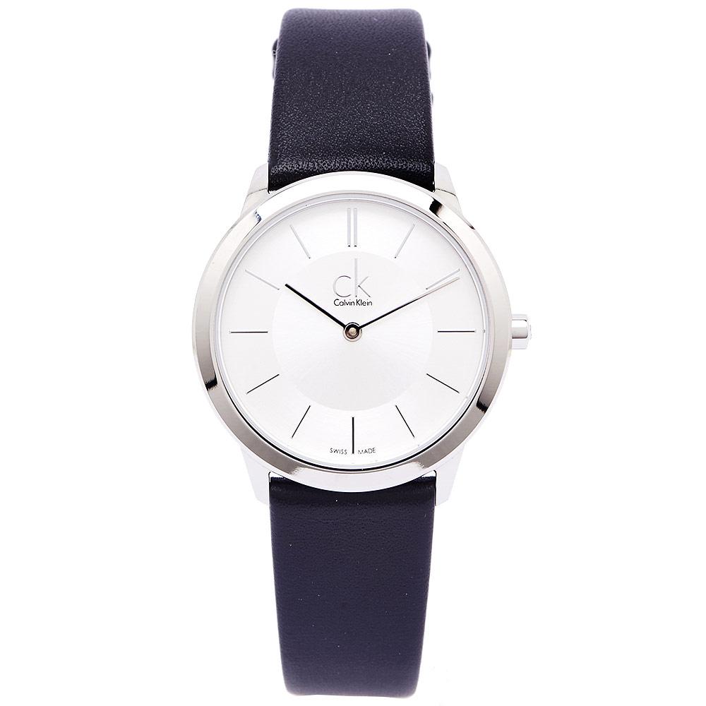 CK都會雅痞極簡女性手錶K3M221C6-銀面X黑34mm