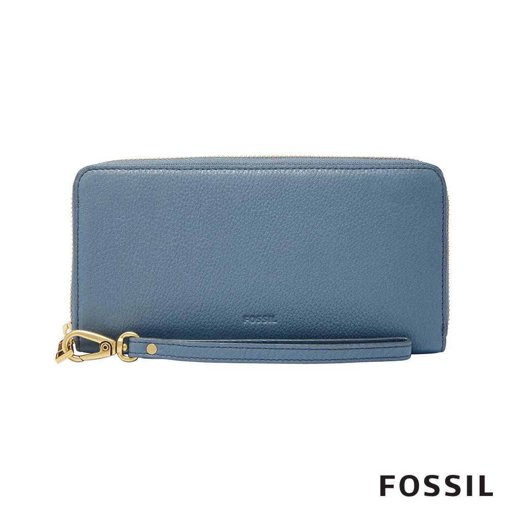 FOSSIL EMMA 真皮皮夾 長夾-霧藍色