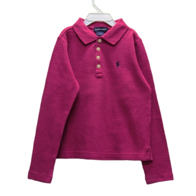 Ralph Lauren 經典長袖POLO衫-紫紅色(6歲)