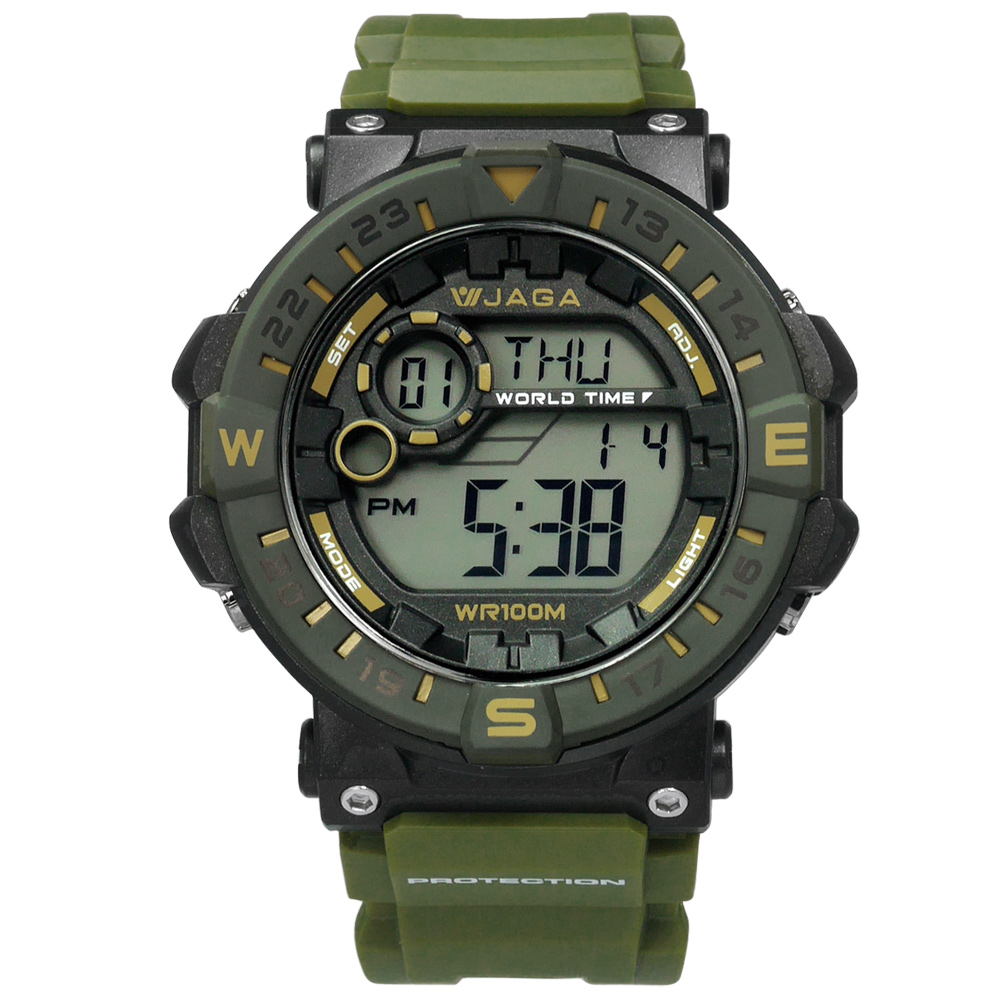 JAGA 捷卡 活力電子運動計時鬧鈴防水橡膠手錶-綠黑色/49mm