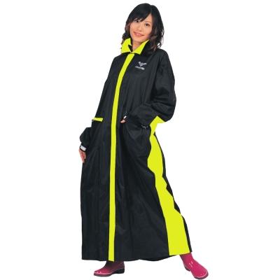JUMP 優帥II代前開連身休閒風雨衣(黑/螢光黃_2XL~4XL)-急速配