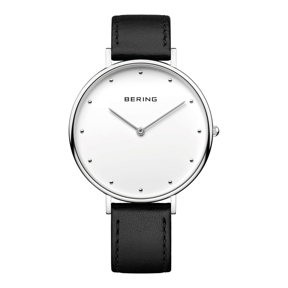 BERING-簡約刻度系列 藍寶石鏡面 黑色真皮白錶盤39mm
