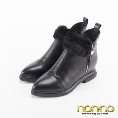 nonno 歐美側拉鍊尖頭短靴